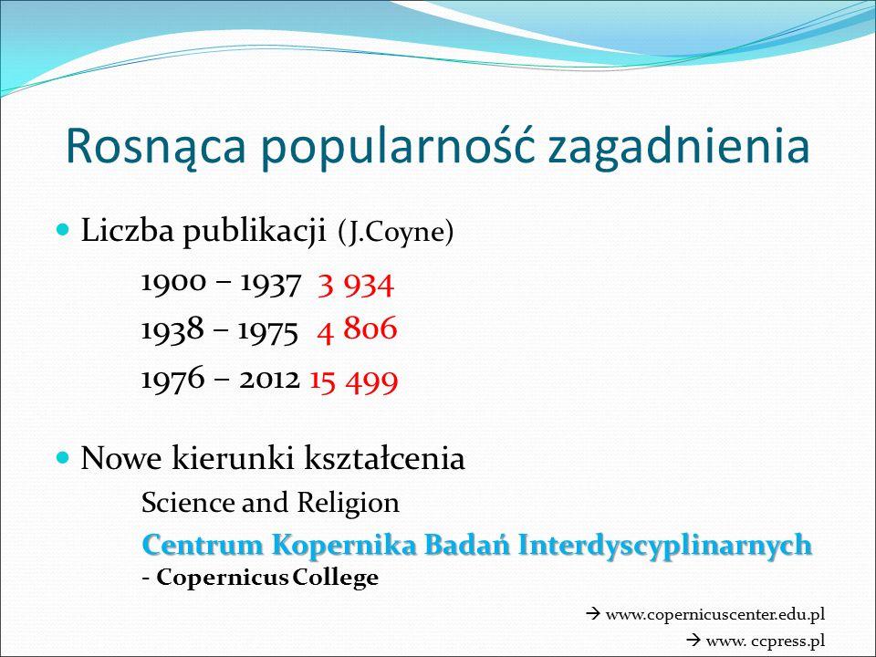 Liczba publikacji (J.Coyne) 1900 – 1937 3 934 1938 – 1975 4 806 1976 – 2012 15 499 Nowe kierunki kształcenia Science and Religion Centrum Kopernika Ba