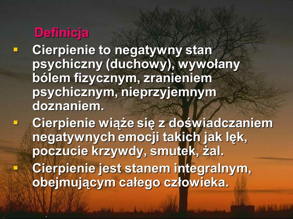 Definicja Definicja  Cierpienie to negatywny stan psychiczny (duchowy), wywołany bólem fizycznym, zranieniem psychicznym, nieprzyjemnym doznaniem.