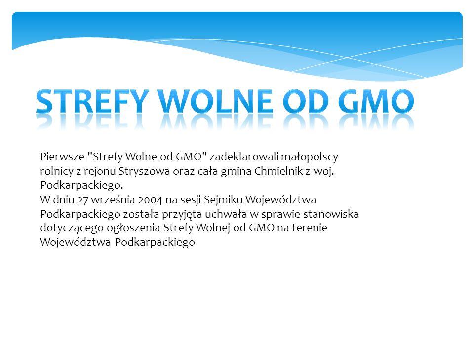 Pierwsze Strefy Wolne od GMO zadeklarowali małopolscy rolnicy z rejonu Stryszowa oraz cała gmina Chmielnik z woj.