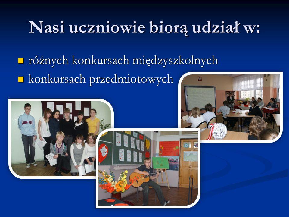 Nasi uczniowie biorą udział w: różnych konkursach międzyszkolnych różnych konkursach międzyszkolnych konkursach przedmiotowych konkursach przedmiotowych