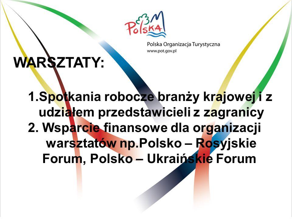 WARSZTATY: 1.Spotkania robocze branży krajowej i z udziałem przedstawicieli z zagranicy 2. Wsparcie finansowe dla organizacji warsztatów np.Polsko – R