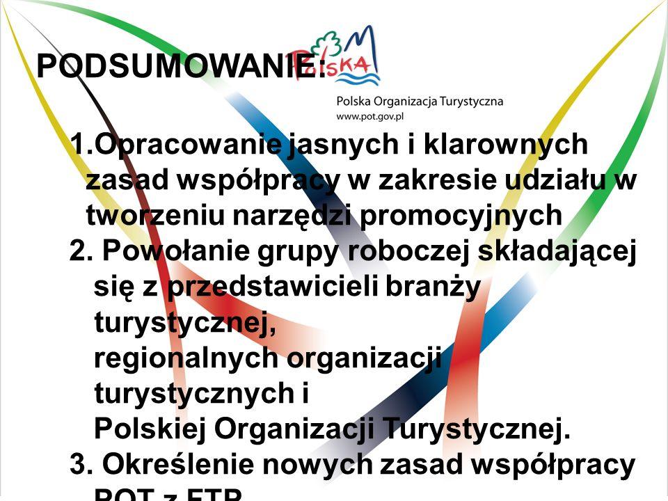 PODSUMOWANIE: 1.Opracowanie jasnych i klarownych zasad współpracy w zakresie udziału w tworzeniu narzędzi promocyjnych 2.