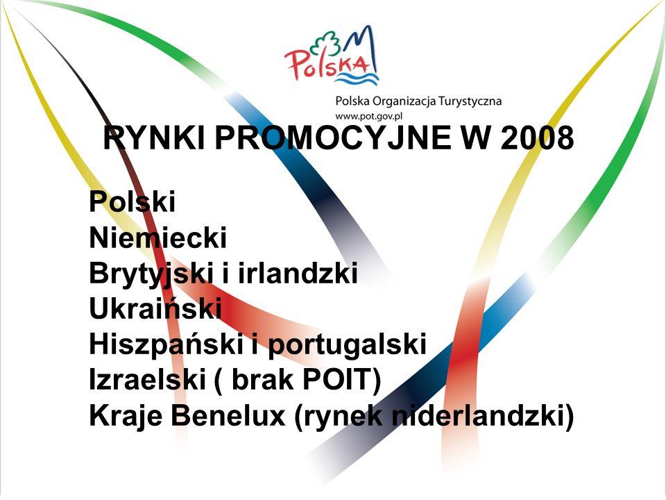 I. RYNKI PROMOCYJNE W 2008 Polski Niemiecki Brytyjski i irlandzki Ukraiński Hiszpański i portugalski Izraelski ( brak POIT) Kraje Benelux (rynek nider