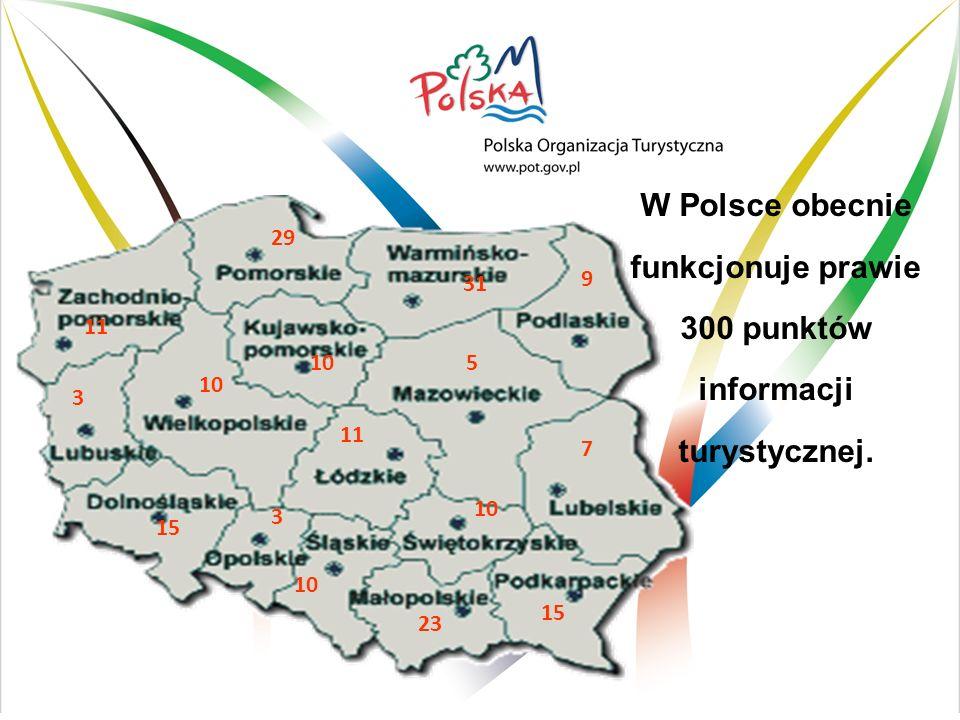 W Polsce obecnie funkcjonuje prawie 300 punktów informacji turystycznej. 11 29 31 9 3 10 5 15 3 10 23 15 11 10 7