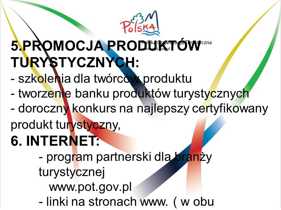 5.PROMOCJA PRODUKTÓW TURYSTYCZNYCH: - szkolenia dla twórców produktu - tworzenie banku produktów turystycznych - doroczny konkurs na najlepszy certyfikowany produkt turystyczny, 6.