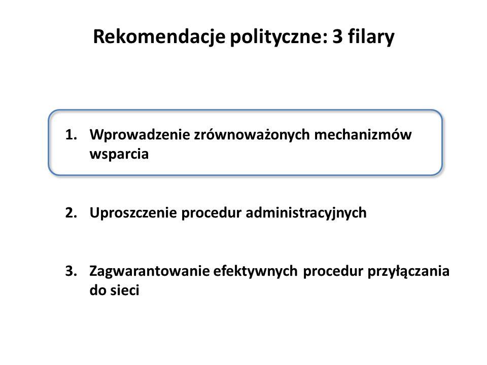Rekomendacje polityczne: 3 filary 1.Wprowadzenie zrównoważonych mechanizmów wsparcia 2.Uproszczenie procedur administracyjnych 3.Zagwarantowanie efektywnych procedur przyłączania do sieci