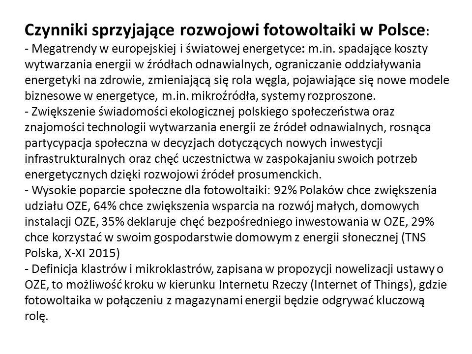 Czynniki sprzyjające rozwojowi fotowoltaiki w Polsce : - Megatrendy w europejskiej i światowej energetyce: m.in. spadające koszty wytwarzania energii