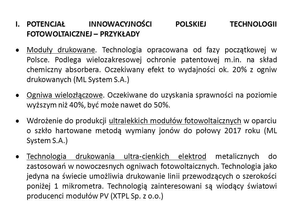I.POTENCJAŁ INNOWACYJNOŚCI POLSKIEJ TECHNOLOGII FOTOWOLTAICZNEJ – PRZYKŁADY  Moduły drukowane. Technologia opracowana od fazy początkowej w Polsce. P