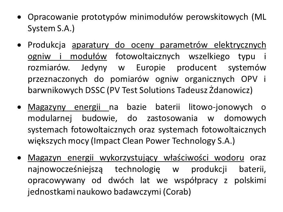  Opracowanie prototypów minimodułów perowskitowych (ML System S.A.)  Produkcja aparatury do oceny parametrów elektrycznych ogniw i modułów fotowoltaicznych wszelkiego typu i rozmiarów.