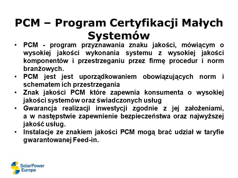 PCM – Program Certyfikacji Małych Systemów PCM - program przyznawania znaku jakości, mówiącym o wysokiej jakości wykonania systemu z wysokiej jakości