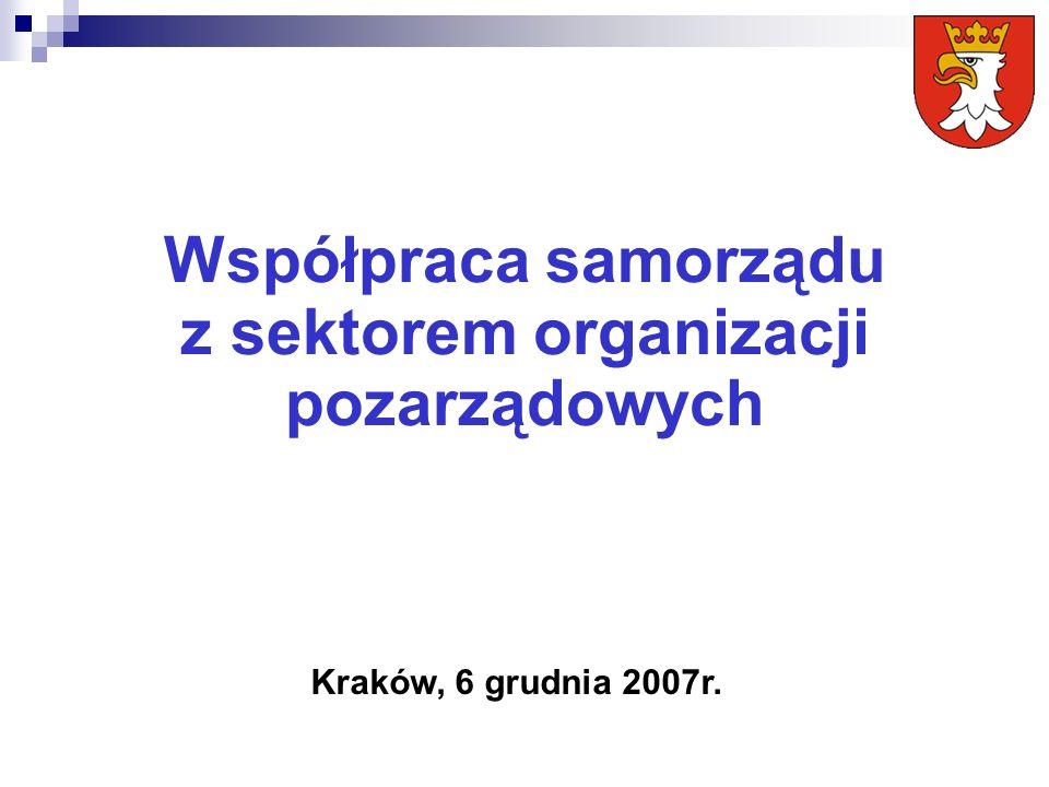 Współpraca samorządu z sektorem organizacji pozarządowych Kraków, 6 grudnia 2007r.