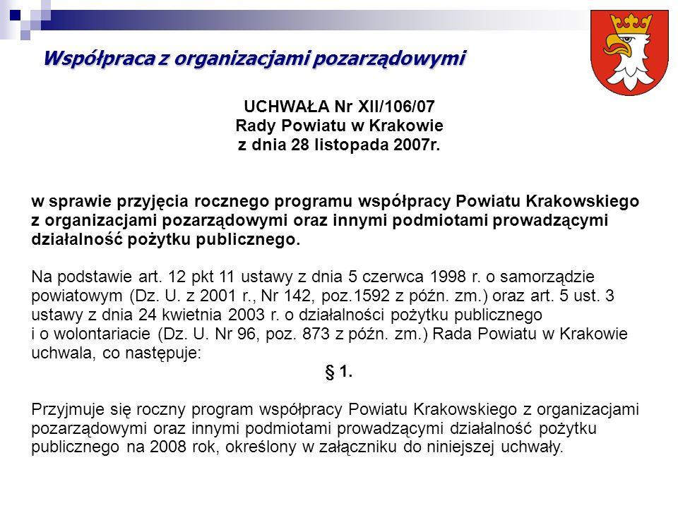 Współpraca z organizacjami pozarządowymi UCHWAŁA Nr XII/106/07 Rady Powiatu w Krakowie z dnia 28 listopada 2007r. w sprawie przyjęcia rocznego program