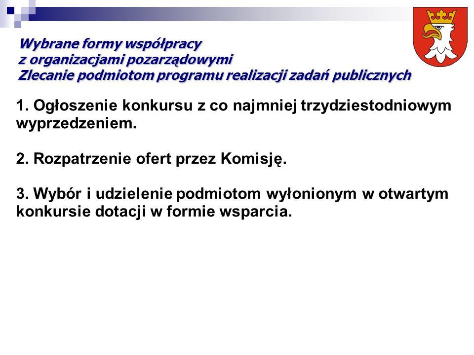 Wybrane formy współpracy z organizacjami pozarządowymi Zlecanie podmiotom programu realizacji zadań publicznych 1. Ogłoszenie konkursu z co najmniej t