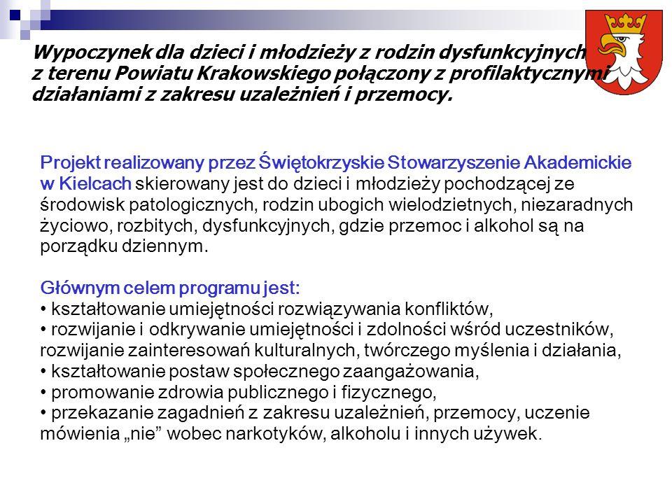 Projekt realizowany przez Świętokrzyskie Stowarzyszenie Akademickie w Kielcach skierowany jest do dzieci i młodzieży pochodzącej ze środowisk patologi