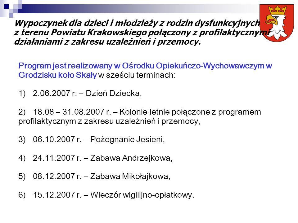 Program jest realizowany w Ośrodku Opiekuńczo-Wychowawczym w Grodzisku koło Skały w sześciu terminach: 1)2.06.2007 r. – Dzień Dziecka, 2)18.08 – 31.08