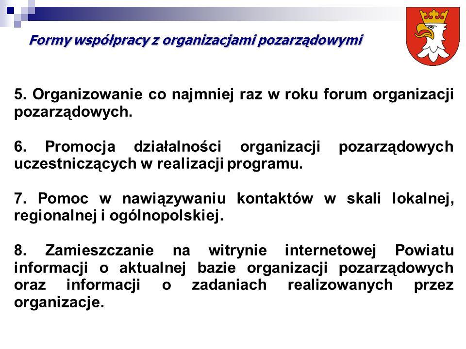 Formy współpracy z organizacjami pozarządowymi 5. Organizowanie co najmniej raz w roku forum organizacji pozarządowych. 6. Promocja działalności organ