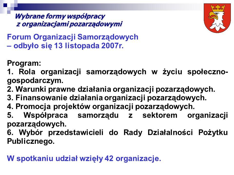 Wybrane formy współpracy z organizacjami pozarządowymi Forum Organizacji Samorządowych – odbyło się 13 listopada 2007r. Program: 1. Rola organizacji s