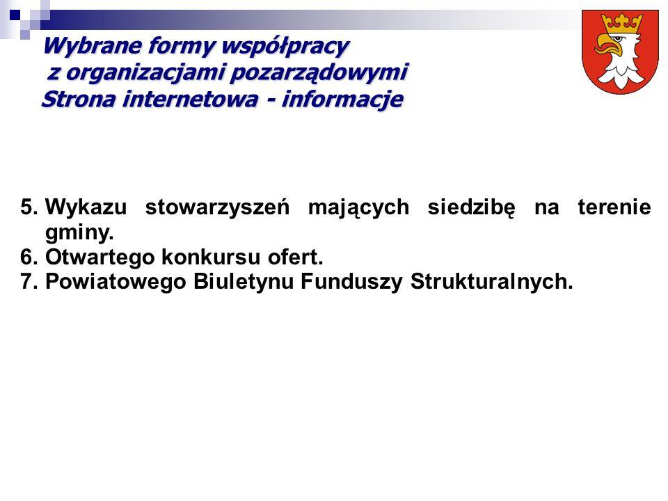 Wybrane formy współpracy z organizacjami pozarządowymi Strona internetowa - informacje 5.Wykazu stowarzyszeń mających siedzibę na terenie gminy. 6.Otw