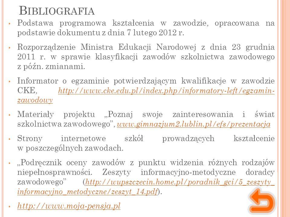 B IBLIOGRAFIA Podstawa programowa kształcenia w zawodzie, opracowana na podstawie dokumentu z dnia 7 lutego 2012 r. Rozporządzenie Ministra Edukacji N