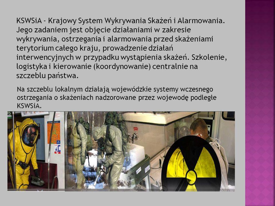 KSWSiA - Krajowy System Wykrywania Skażeń i Alarmowania. Jego zadaniem jest objęcie działaniami w zakresie wykrywania, ostrzegania i alarmowania przed