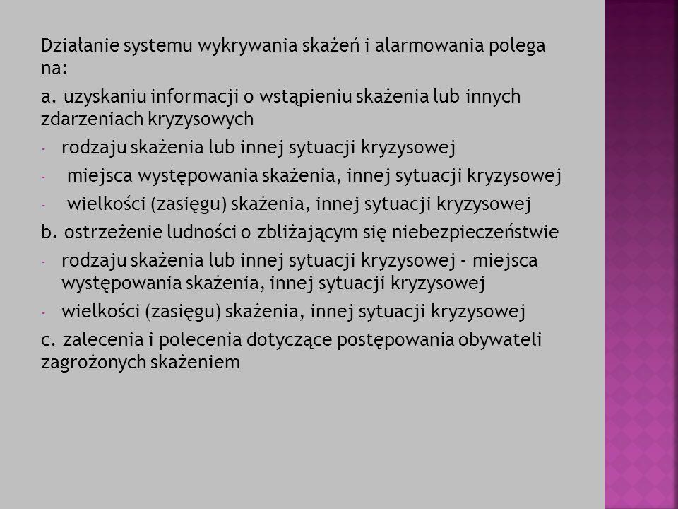 Działanie systemu wykrywania skażeń i alarmowania polega na: a. uzyskaniu informacji o wstąpieniu skażenia lub innych zdarzeniach kryzysowych - rodzaj