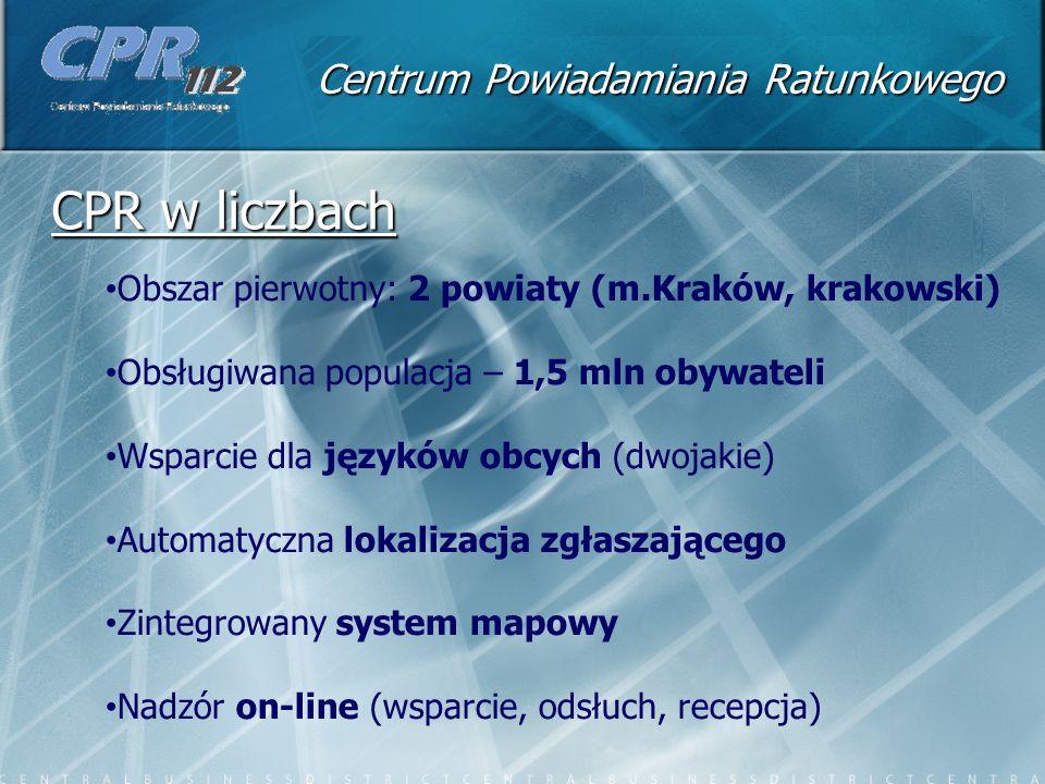 Centrum Powiadamiania Ratunkowego CPR w liczbach Obszar pierwotny: 2 powiaty (m.Kraków, krakowski) Obsługiwana populacja – 1,5 mln obywateli Wsparcie dla języków obcych (dwojakie) Automatyczna lokalizacja zgłaszającego Zintegrowany system mapowy Nadzór on-line (wsparcie, odsłuch, recepcja)