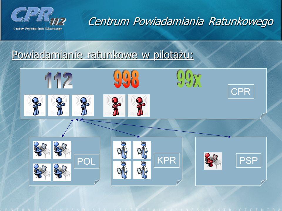 Centrum Powiadamiania Ratunkowego Powiadamianie ratunkowe w pilotażu: CPR POL KPR PSP