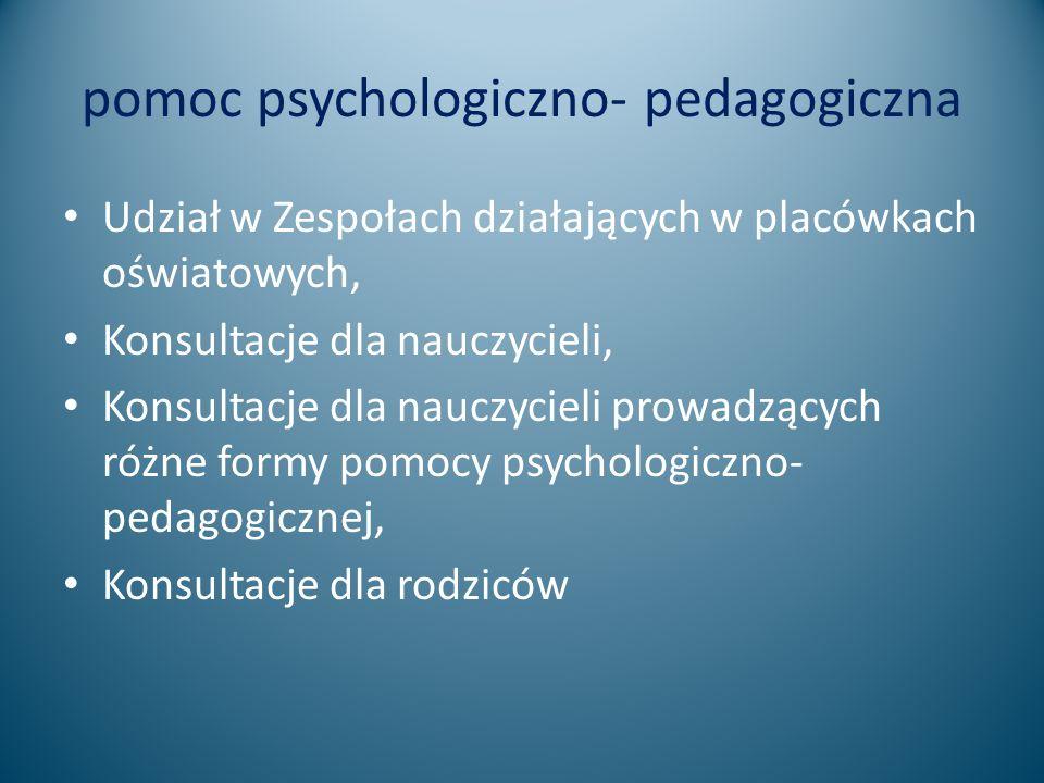 pomoc psychologiczno- pedagogiczna Udział w Zespołach działających w placówkach oświatowych, Konsultacje dla nauczycieli, Konsultacje dla nauczycieli