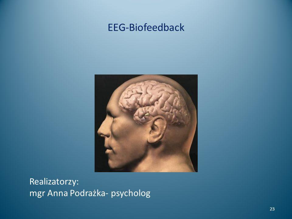 EEG-Biofeedback 23 Realizatorzy: mgr Anna Podrażka- psycholog