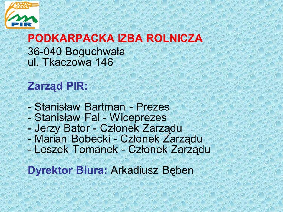 PODKARPACKA IZBA ROLNICZA 36-040 Boguchwała ul. Tkaczowa 146 Zarząd PIR: - Stanisław Bartman - Prezes - Stanisław Fal - Wiceprezes - Jerzy Bator - Czł