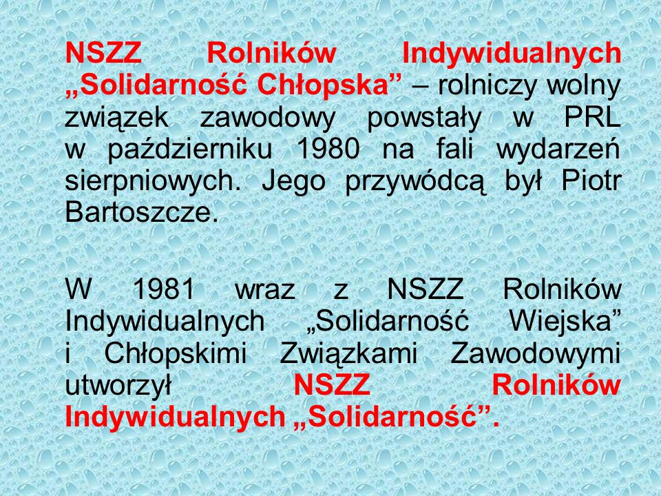 """NSZZ Rolników Indywidualnych """"Solidarność Chłopska"""" – rolniczy wolny związek zawodowy powstały w PRL w październiku 1980 na fali wydarzeń sierpniowych"""