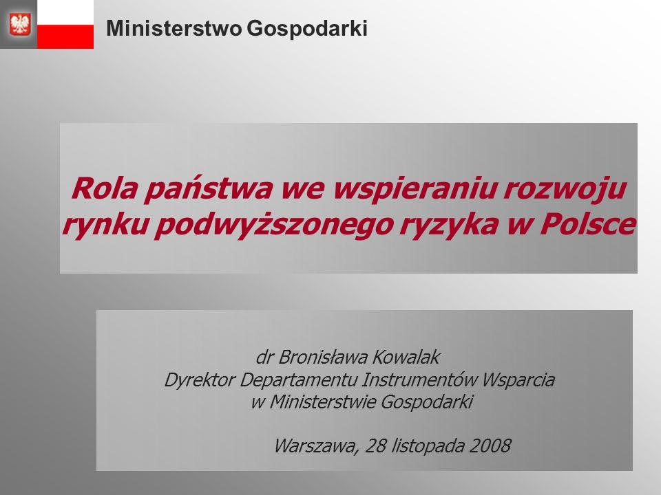 Ministerstwo Gospodarki Plan prezentacji Czynniki zwiększania konkurencyjności Instrumenty wsparcia rozwoju rynku podwyższonego ryzyka w okresie ostatnich 7 lat Podsumowanie