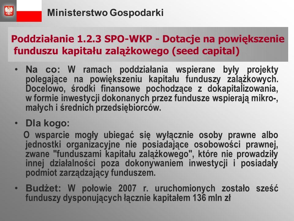 Ministerstwo Gospodarki Na co: W ramach poddziałania wspierane były projekty polegające na powiększeniu kapitału funduszy zalążkowych.