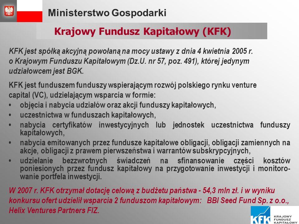 Ministerstwo Gospodarki Krajowy Fundusz Kapitałowy (KFK) KFK jest spółką akcyjną powołaną na mocy ustawy z dnia 4 kwietnia 2005 r.