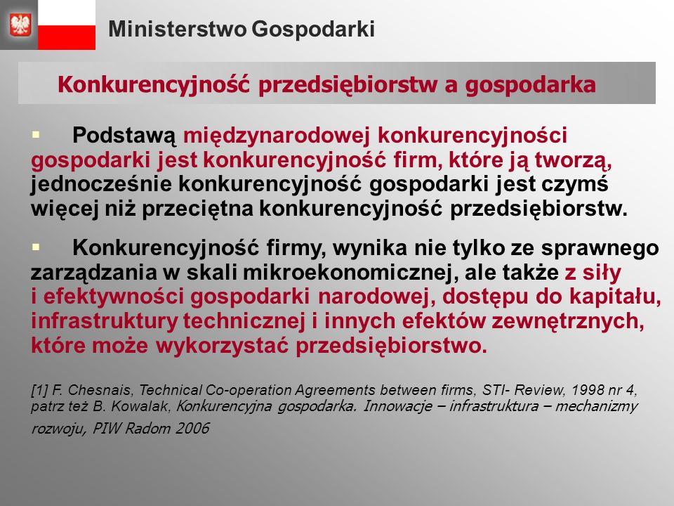 Ministerstwo Gospodarki  Podstawą międzynarodowej konkurencyjności gospodarki jest konkurencyjność firm, które ją tworzą, jednocześnie konkurencyjność gospodarki jest czymś więcej niż przeciętna konkurencyjność przedsiębiorstw.