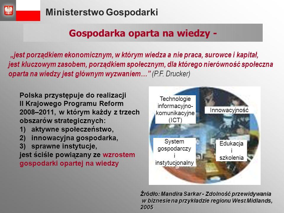 """Ministerstwo Gospodarki Polska przystępuje do realizacji II Krajowego Programu Reform 2008–2011, w którym każdy z trzech obszarów strategicznych: 1)aktywne społeczeństwo, 2)innowacyjna gospodarka, 3)sprawne instytucje, jest ściśle powiązany ze wzrostem gospodarki opartej na wiedzy Technologie informacyjno- komunikacyjne (ICT) Innowacyjność System gospodarczy i instytucjonalny Edukacja i szkolenia Gospodarka oparta na wiedzy - Sarkar - Zdolność przewidywania Żródło: Mandira Sarkar - Zdolność przewidywania w biznesie na przykładzie regionu West Midlands, 2005 w biznesie na przykładzie regionu West Midlands, 2005 """"jest porządkiem ekonomicznym, w którym wiedza a nie praca, surowce i kapitał, jest kluczowym zasobem, porządkiem społecznym, dla którego nierówność społeczna oparta na wiedzy jest głównym wyzwaniem… (P.F."""