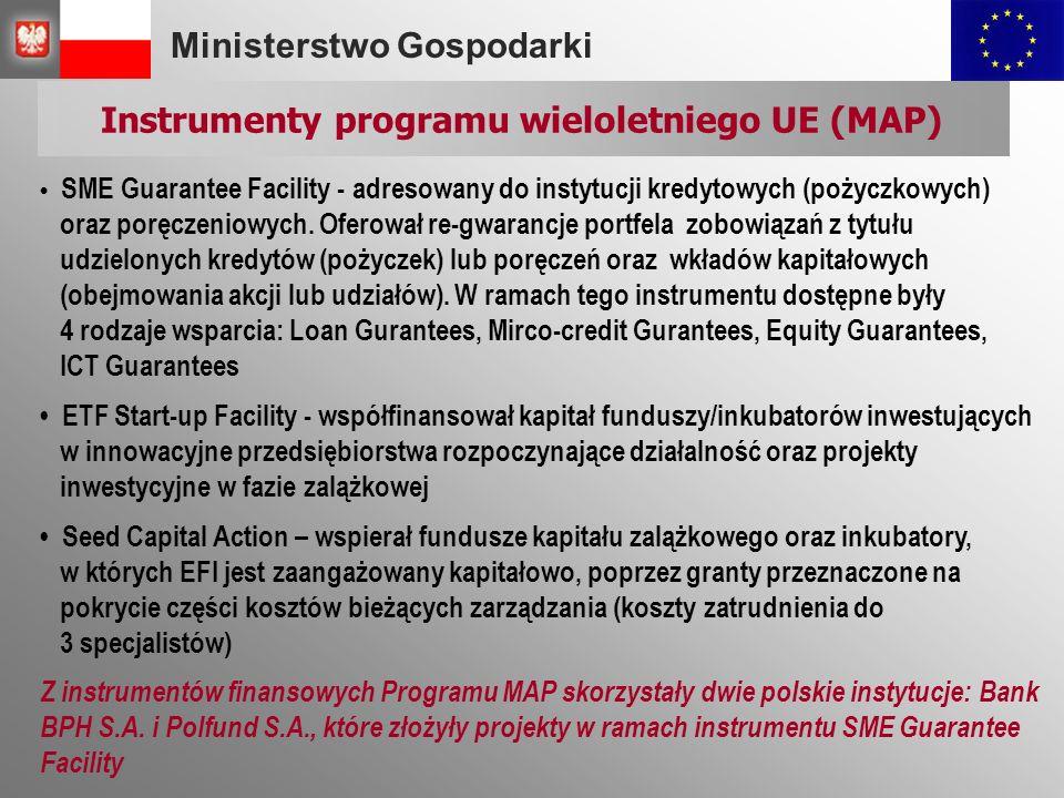 Ministerstwo Gospodarki Instrumenty programu wieloletniego UE (MAP) SME Guarantee Facility - adresowany do instytucji kredytowych (pożyczkowych) oraz poręczeniowych.