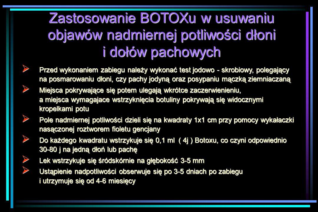 Zastosowanie BOTOXu w usuwaniu objawów nadmiernej potliwości dłoni i dołów pachowych  Przed wykonaniem zabiegu należy wykonać test jodowo - skrobiowy, polegający na posmarowaniu dłoni, czy pachy jodyną oraz posypaniu mączką ziemniaczaną  Miejsca pokrywające się potem ulegają wkrótce zaczerwienieniu, a miejsca wymagajace wstrzyknięcia botuliny pokrywają się widocznymi kropelkami potu  Pole nadmiernej potliwości dzieli się na kwadraty 1x1 cm przy pomocy wykałaczki nasączonej roztworem fioletu gencjany  Do każdego kwadratu wstrzykuje się 0,1 ml ( 4j ) Botoxu, co czyni odpowiednio 30-80 j na jedną dłoń lub pachę  Lek wstrzykuje się śródskórnie na głębokość 3-5 mm  Ustąpienie nadpotliwości obserwuje się po 3-5 dniach po zabiegu i utrzymuje się od 4-6 miesięcy