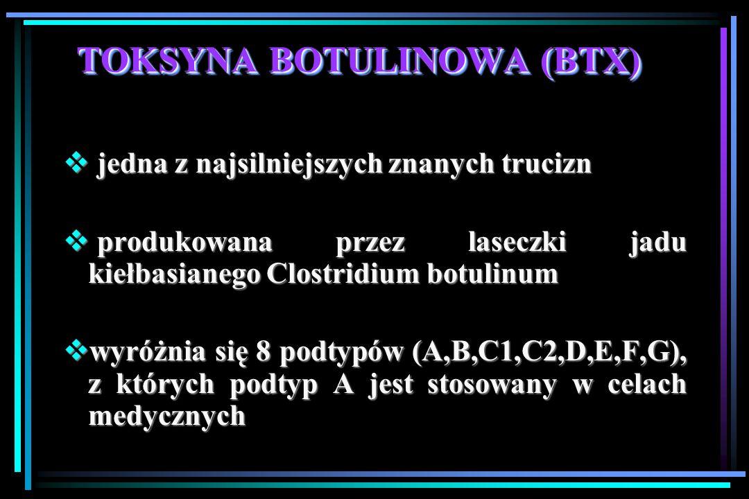 TOKSYNA BOTULINOWA (BTX)  jedna z najsilniejszych znanych trucizn  produkowana przez laseczki jadu kiełbasianego Clostridium botulinum  wyróżnia się 8 podtypów (A,B,C1,C2,D,E,F,G), z których podtyp A jest stosowany w celach medycznych