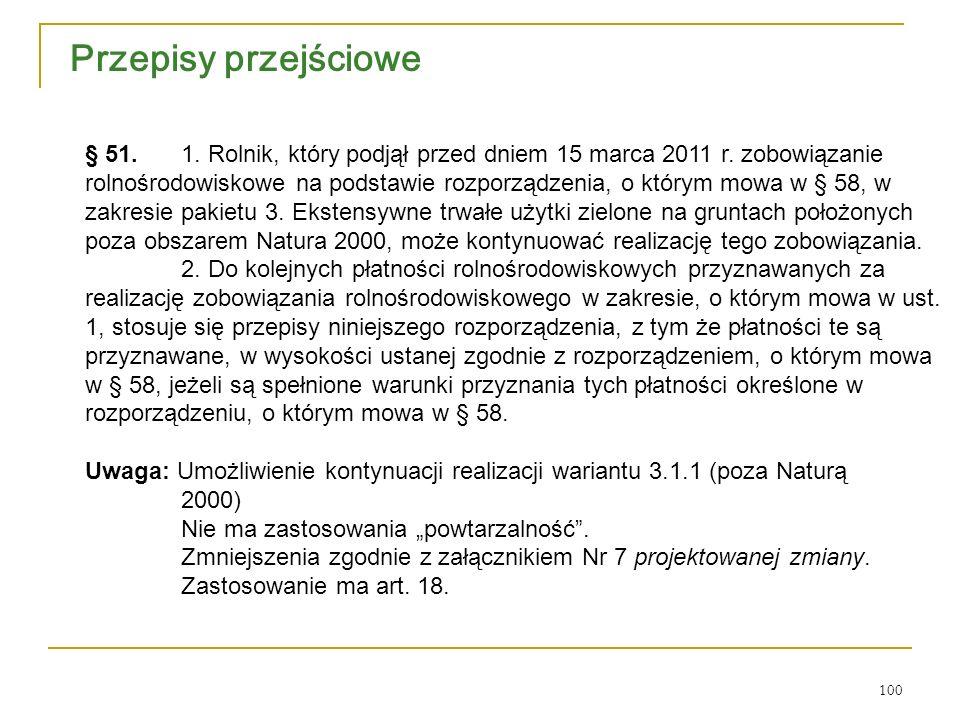 100 Przepisy przejściowe § 51. 1. Rolnik, który podjął przed dniem 15 marca 2011 r.