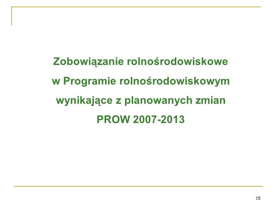 15 Zobowiązanie rolnośrodowiskowe w Programie rolnośrodowiskowym wynikające z planowanych zmian PROW 2007-2013 15