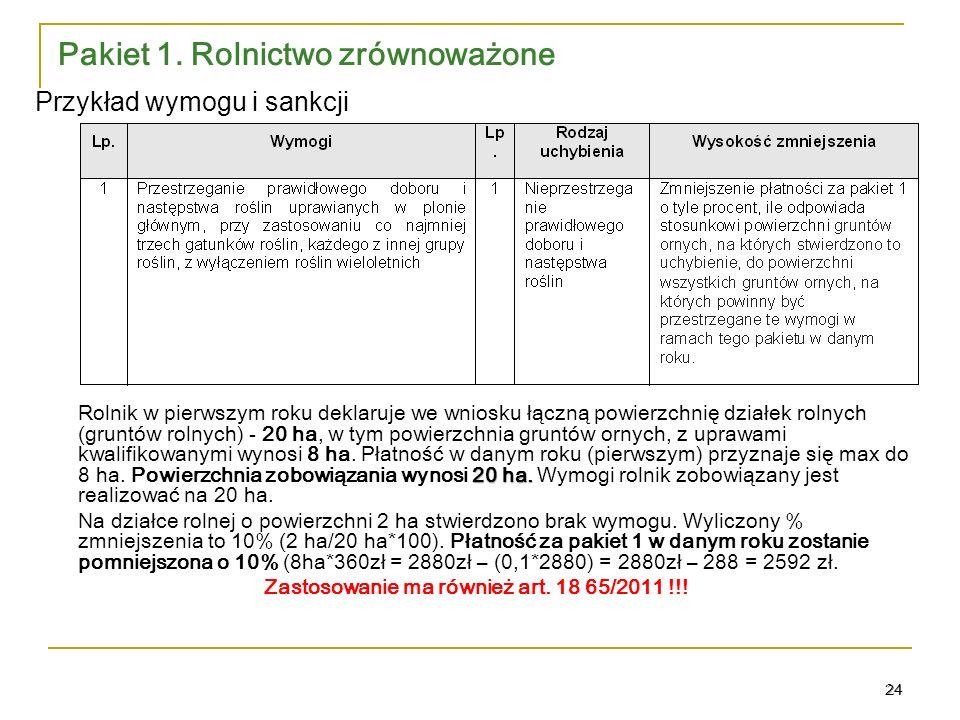24 Pakiet 1.Rolnictwo zrównoważone 20 ha.