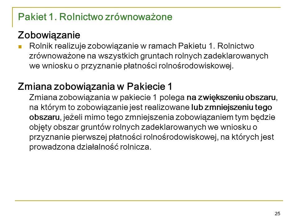 25 Pakiet 1.Rolnictwo zrównoważone Zobowiązanie Rolnik realizuje zobowiązanie w ramach Pakietu 1.