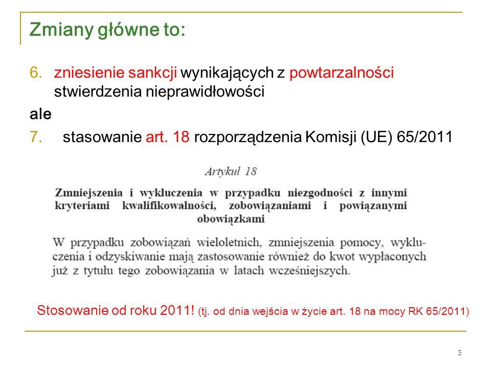 Zmiany główne to: 6.zniesienie sankcji wynikających z powtarzalności stwierdzenia nieprawidłowości ale 7.