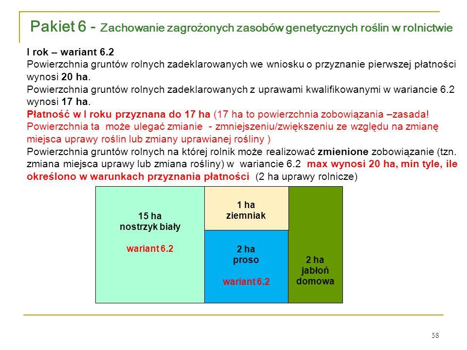 2 ha jabłoń domowa 2 ha proso wariant 6.2 1 ha ziemniak 15 ha nostrzyk biały wariant 6.2 I rok – wariant 6.2 Powierzchnia gruntów rolnych zadeklarowanych we wniosku o przyznanie pierwszej płatności wynosi 20 ha.
