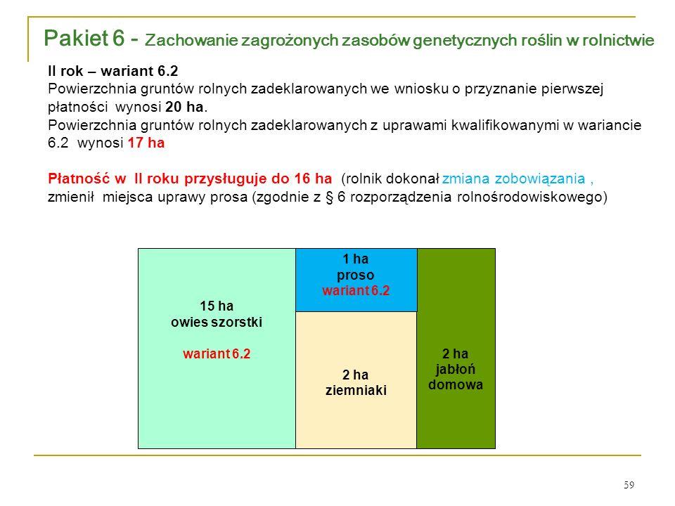 2 ha jabłoń domowa 2 ha ziemniaki 1 ha proso wariant 6.2 15 ha owies szorstki wariant 6.2 II rok – wariant 6.2 Powierzchnia gruntów rolnych zadeklarowanych we wniosku o przyznanie pierwszej płatności wynosi 20 ha.