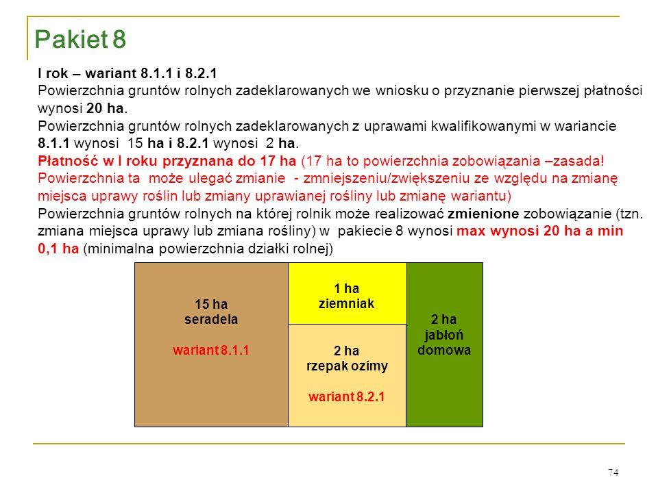 2 ha jabłoń domowa 2 ha rzepak ozimy wariant 8.2.1 1 ha ziemniak 15 ha seradela wariant 8.1.1 I rok – wariant 8.1.1 i 8.2.1 Powierzchnia gruntów rolnych zadeklarowanych we wniosku o przyznanie pierwszej płatności wynosi 20 ha.