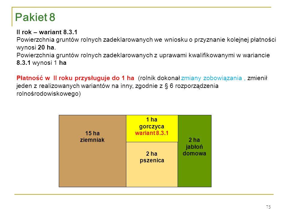 2 ha jabłoń domowa 2 ha pszenica 1 ha gorczyca wariant 8.3.1 15 ha ziemniak II rok – wariant 8.3.1 Powierzchnia gruntów rolnych zadeklarowanych we wniosku o przyznanie kolejnej płatności wynosi 20 ha.