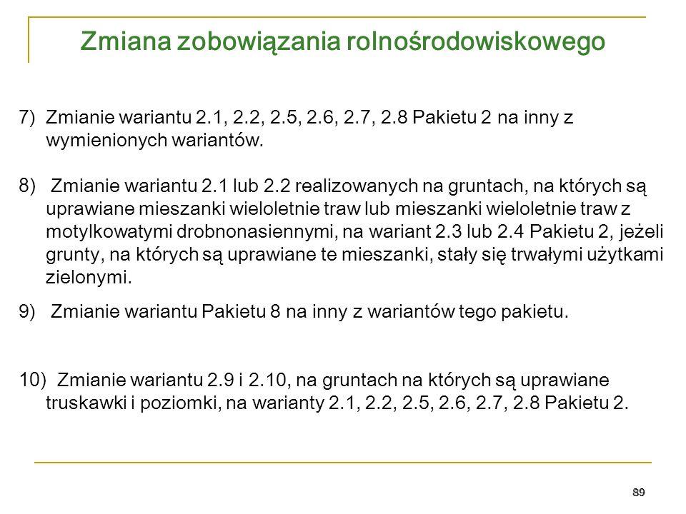 Zmiana zobowiązania rolnośrodowiskowego 89 7)Zmianie wariantu 2.1, 2.2, 2.5, 2.6, 2.7, 2.8 Pakietu 2 na inny z wymienionych wariantów.