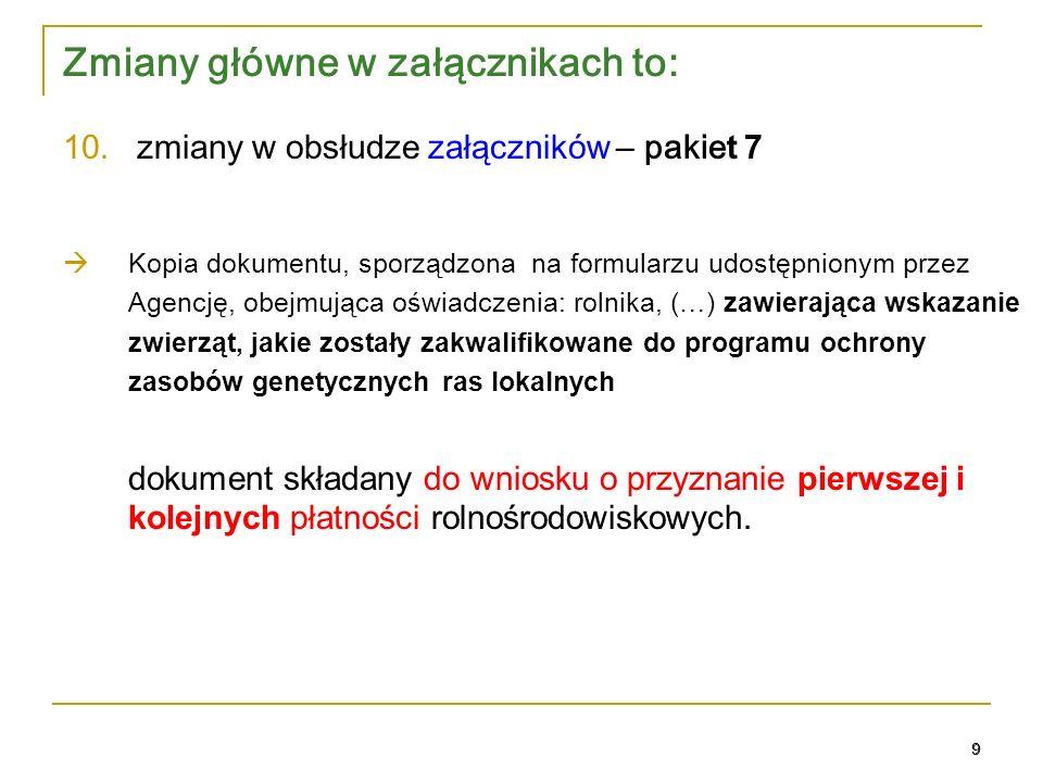 20 Zobowiązanie Pakiet 1. Rolnictwo zrównoważone 20
